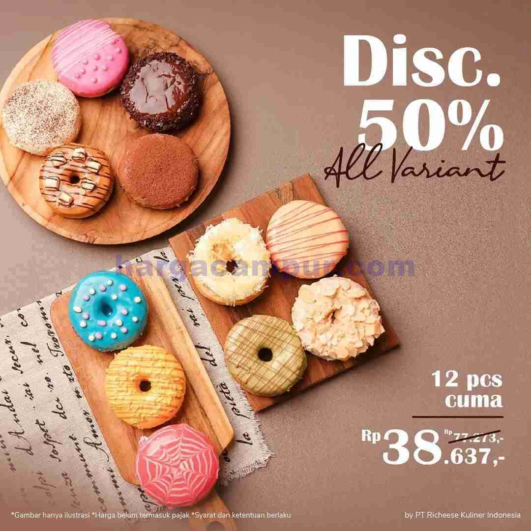 promo richeese factory diskon 50% all varian donuts periode september 2021